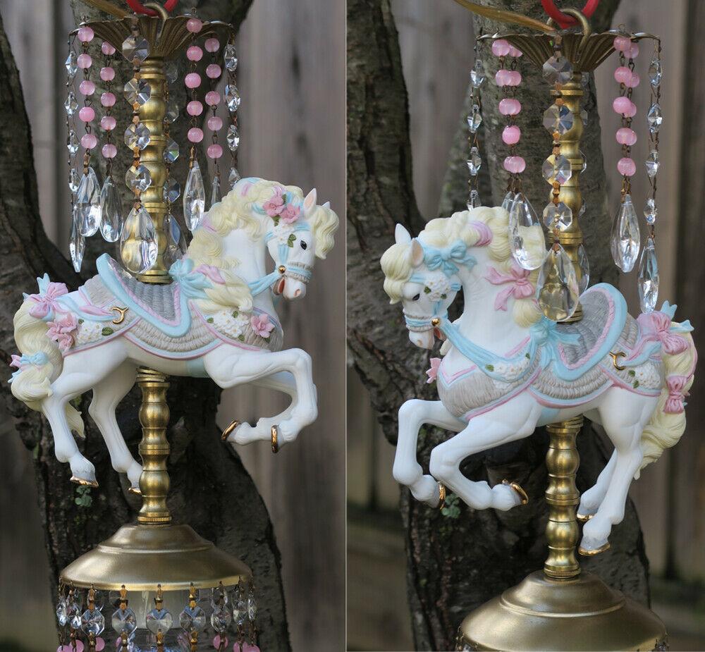 Porcelain Pony Horse Carousel Lamp swag Chandelier Vintage Crystal beaded Roses