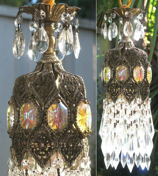 Lamp Vintage Chandelier Spelter Brass Jeweled Filigree HOME lighting AB Ceiling