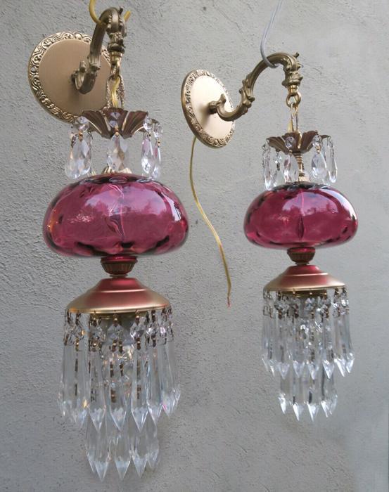 PR Vintage Fenton thumbnail Cranberry art Glass Bronze Brass Sconce lamp crystal