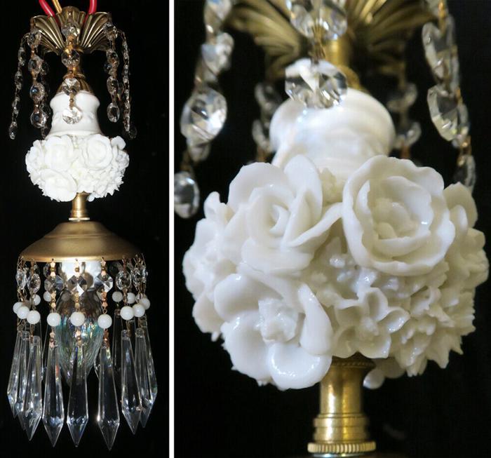 vintage lamp Porcelain Ivory Rose Brass tole chandelier beaded Swag crystal lite