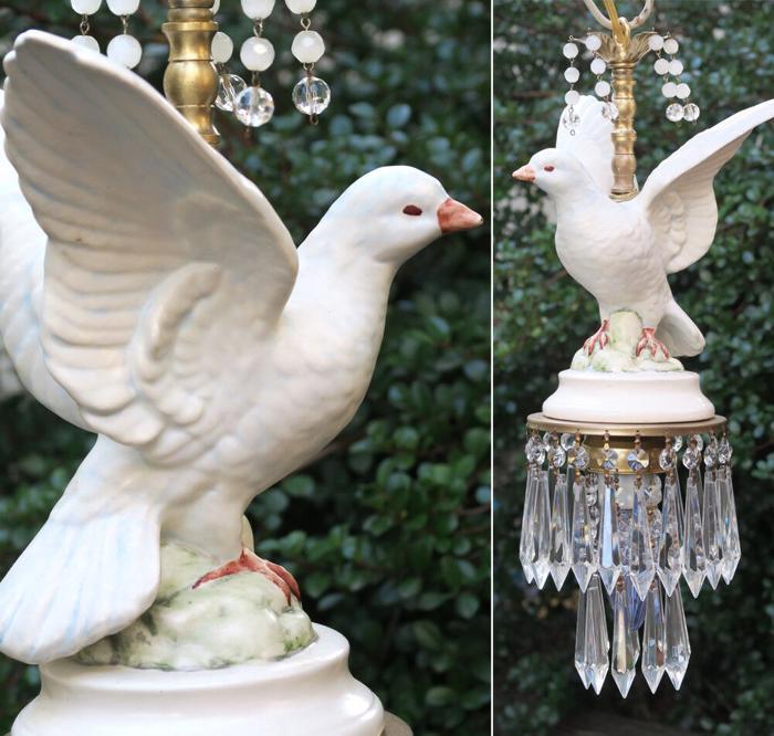 DOVE Wedding Bridal DECOR Porcelain Brass white bird swag lamp chandelier beaded