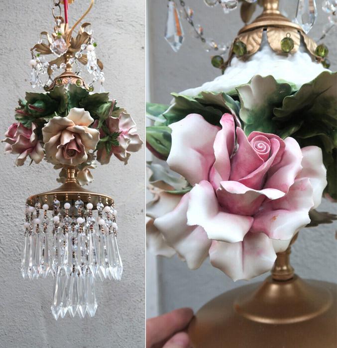 LG Porcelain ROSE beaded Chandelier SWAG lamp Capodimonte Vintage crystal Brass