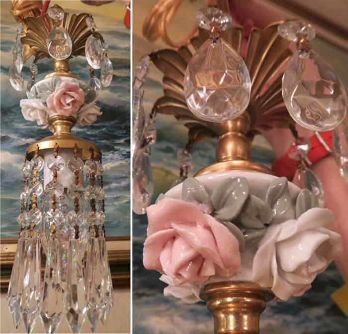 Porcelain small lamp PINK Rose Brass Swag vintage closet bathroom corner light