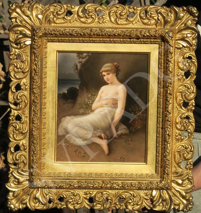 Antique KPM Psyche Porcelain plaque Wagner after KRAY Florentine ROCOCO frame