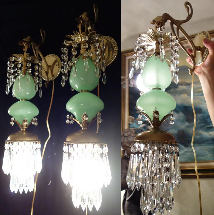 2 Vintage Sconce lamp Murano Jade Opaline Glass Bronze Brass beaded light crysta