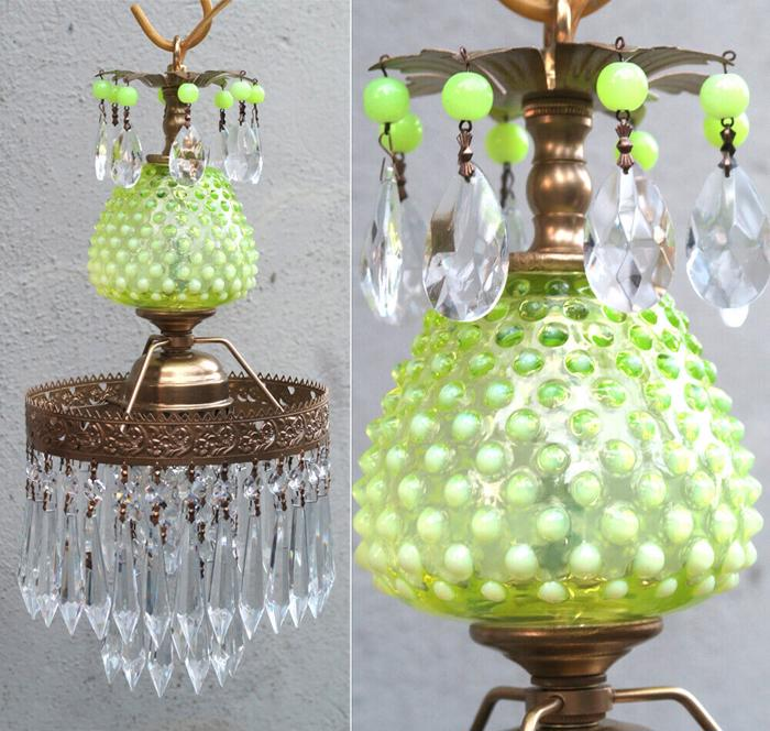 Lamp Chandelier Fenton Vaseline brass Lemon Glass Crystal Vintage tole Kitnen lt