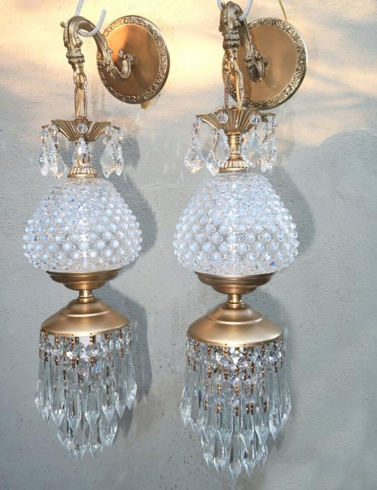 2 Fenton Cranberry Glass Brass Sconce lamp crystal modern home decor lighting