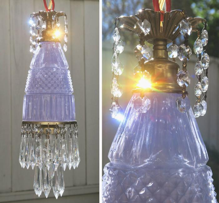 Vintage lavender Lady cupcake glass crystal Brass SWAG lamp chandelier