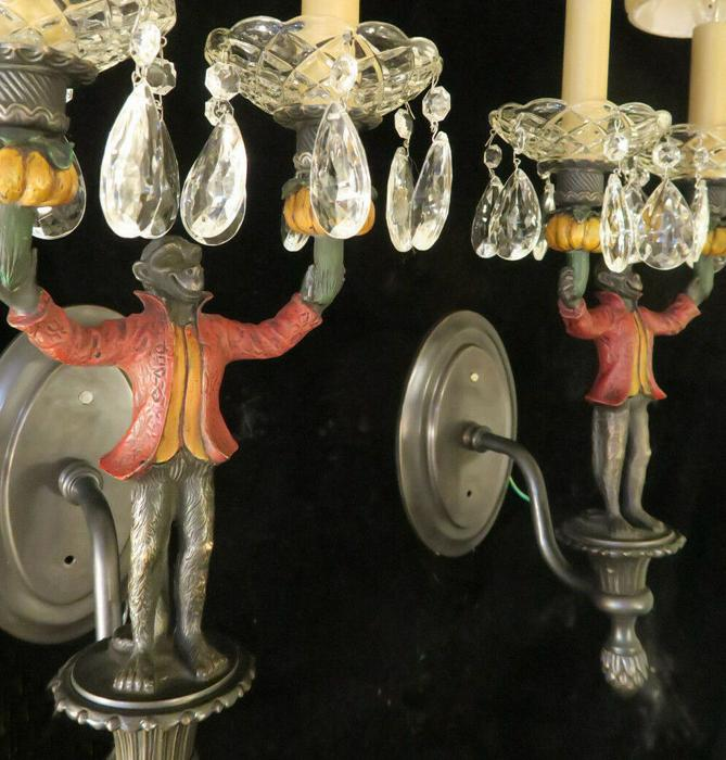 Monkey 2 Bronze Vintage SCONCE African Exotic Vintage lamp crystal shabby fixtur