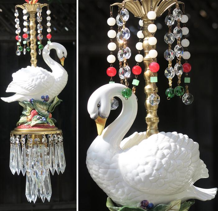 Lamp Chandelier Christmas fruit Swan Swag Glass brass porcelain Opaline fixture