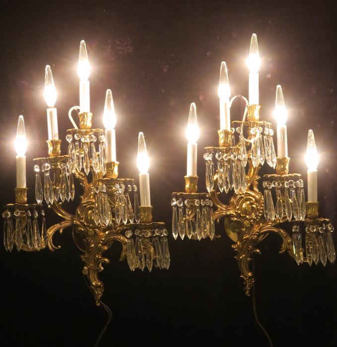 2 sconces Museum CRYSTAL Acanthus Rococo Vintage Gilt Bronze Brass FRENCH